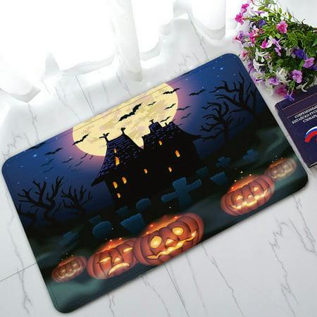 PHFZK Moon Doormat, Halloween Wicked House with Pumpkins Doormat Outdoors/Indoor Doormat Home Floor Mats Rugs Size 30x18 inches