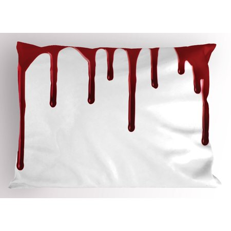 Horror Pillow Sham Flowing Blood Horror Spooky Halloween Zombie Crime Scary Help me Themed Illustration, Decorative Standard Queen Size Printed Pillowcase, 30 X 20 Inches, Red White, by - Scary Halloween Themes