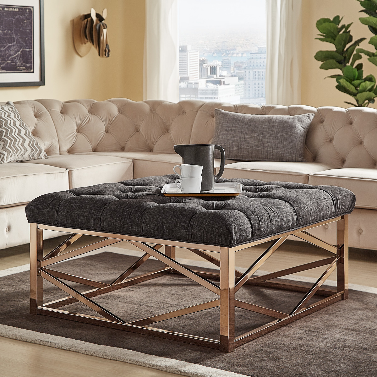 Merveilleux Weston Home Libby Button Tufted Cushion Ottoman Coffee Table With Champagne  Gold Geometric Base, Multiple Colors   Walmart.com