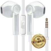 Premium Sound Headphones Noise Isolation Earphones Earbuds Bass Enhance Stereo with Microphone Remote Control Compatible for Smartphones Tablets - Samsung/iPhone/LG/Sony/HPC-White