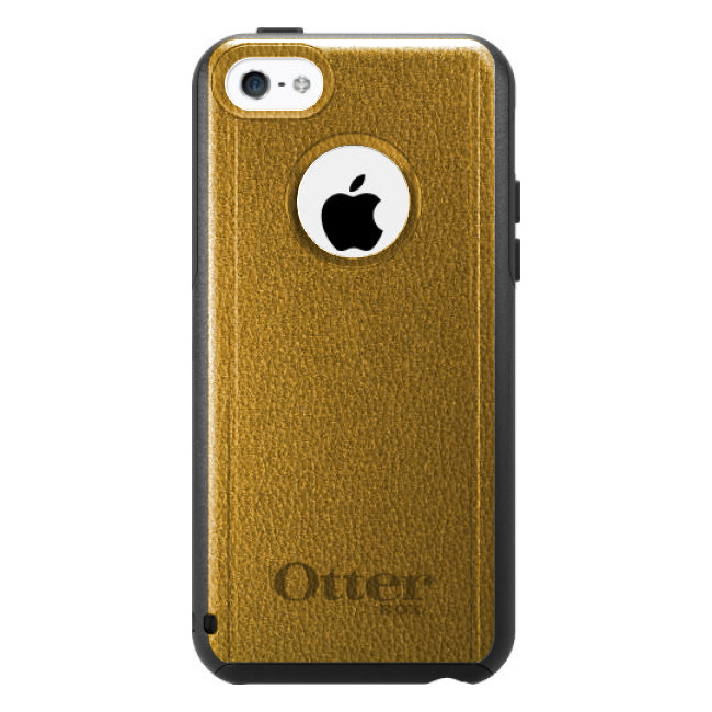 DistinctInk™ Custom Black OtterBox Commuter Series Case for Apple iPhone 5C - Yellow Leather Print Design