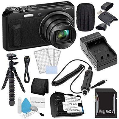 Panasonic Lumix DMC-ZS45 16 MP Wi-Fi Digital Camera (Black) + DMW-BCM13 Battery + External Charger + 32GB SDHC Card Saver Bundle 1 - International Version (No Warranty)