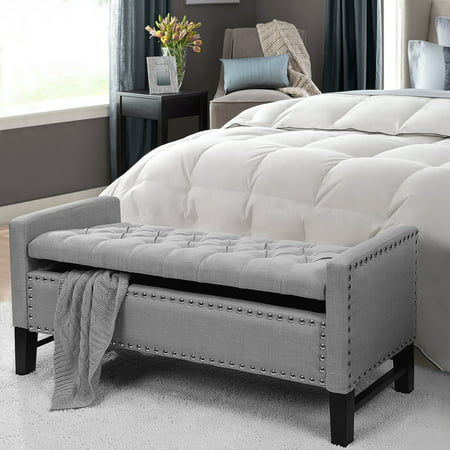 - Ralph Light Grey Linen Storage Bench - Button Tufted | Silver Nailhead Trim | Modern and Contemporary | by Inspired Home