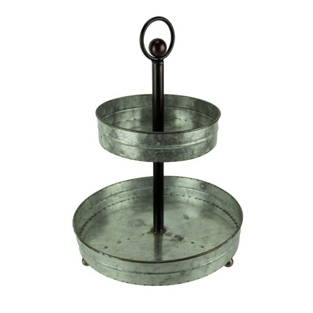 Rustic Round 2 Tier Galvanized Metal Serving - Round Metal Tray