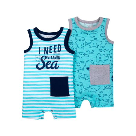 100% Organic Cotton Sleeveless One Piece Romper, 2-pack (Baby Boys) Boys 2 Piece Romper