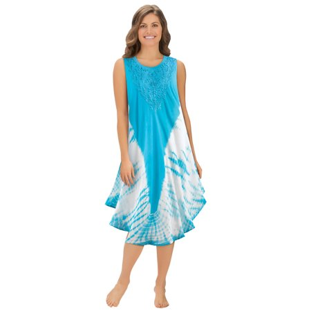 Women's Woven Tie Dye Dress with Embroidery Scooped Neckline, Lightweight Beach Coverup, Medium/Large, Turquoise
