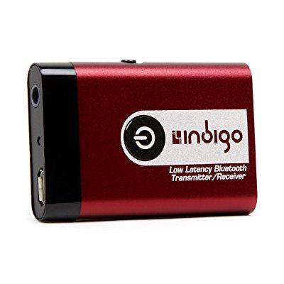 indigo btr9l low latency wireless bluetooth stereo transmitter and receiver  2-in-1 switchable adapter for tvs, computers, mp3 players, ipods,