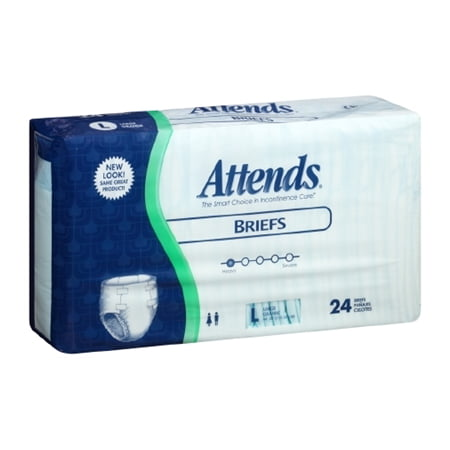 "Attends Regular Adult Briefs, LARGE, 44"" - 58"", Heavy Absorbency, BR30 - Case of 72"