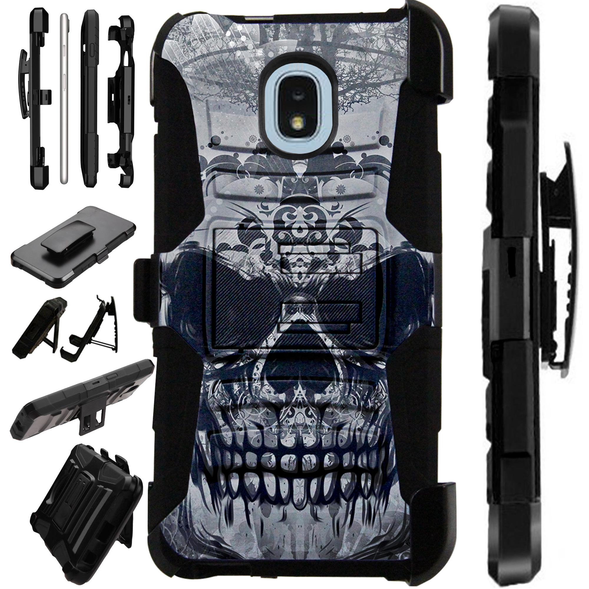 LuxGuard Phone Case Cover For Samsung Galaxy J3V (2018) | J3 Orbit | J3 Achieve | Express Prime 3 (Gray Evil Skull)