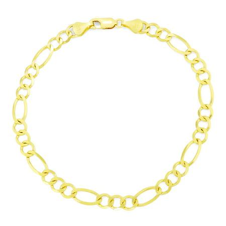 "14k Yellow Gold 5.5mm Hollow Link Italian Figaro Chain Bracelet, 7"" 8"" 9"""