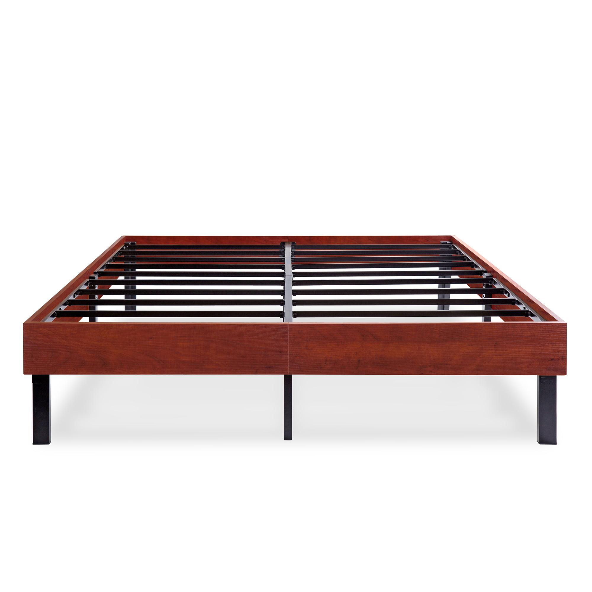 GranRest 14 Inch Wood Platform Bed Frame  Steel Slat support, Classic Brown by Grantec Co., Ltd