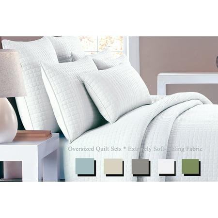 NC Home Fashions one inch check mini quilt 3pc set, Twin, Bright White ()