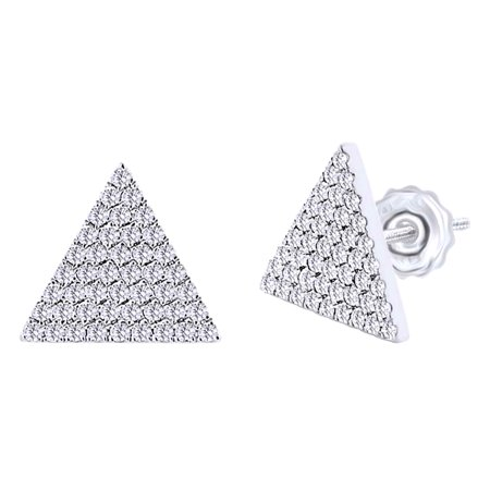 Solid Triangle Earrings - 0.24 Cttw Round Cut White Diamond Triangle Stud Earrings In 10K Solid White Gold