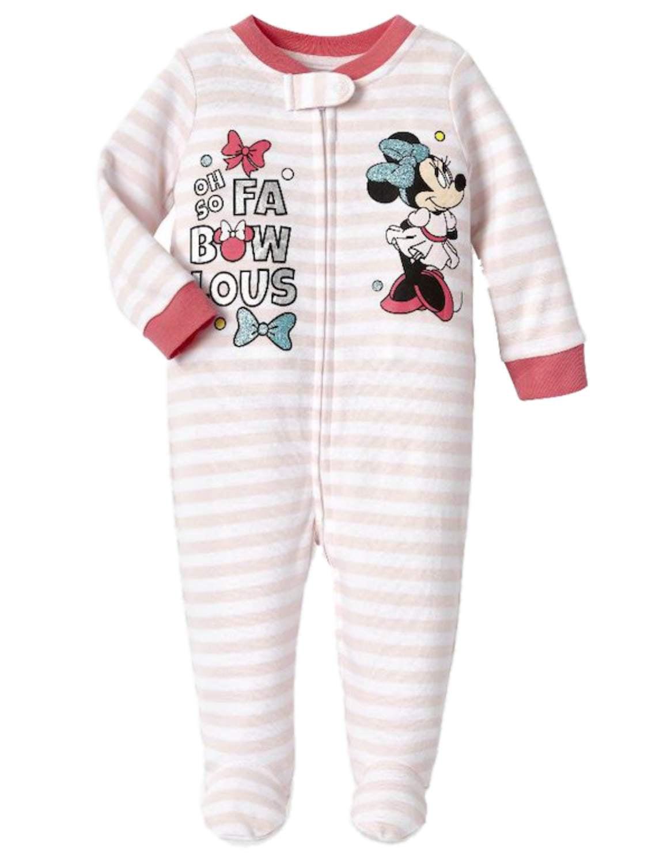 Disney Infant Girls Pink Stripe Minnie Mouse Cotton Pajama Sleeper Sleep & Play