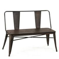 Costway Mid-Century Industrial Metal Dining Bench Steel Frame Wood Seat Distressed