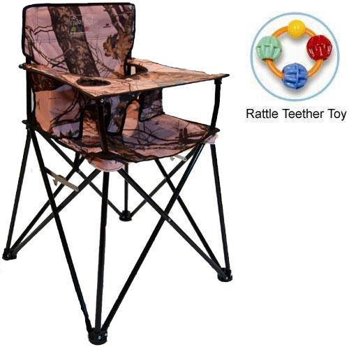 ciao baby Portable High Chair with Rattle Teether Toy Pink Mossy Oak by ciao baby
