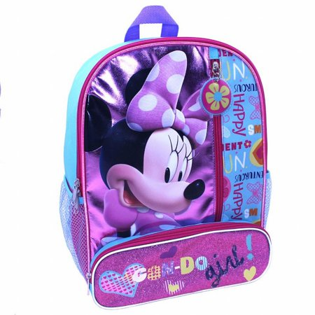 Disney Bowtique Minnie Mouse 14 inch Backpack with Side Mesh Pockets