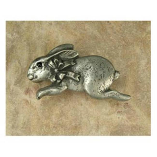 Anne at Home 41000 Bunny with Bow Facing Left Pull in Pewter Matte