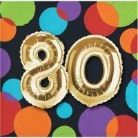 1PK Gold Balloon 80th Birthday Beverage Napkins ,Item per pack: 16per pack