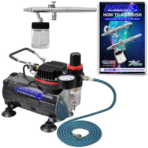 New SIPHON SUCTION FEED Dual-Action AIRBRUSH AIR COMPRESSOR SYSTEM KIT Gift Set