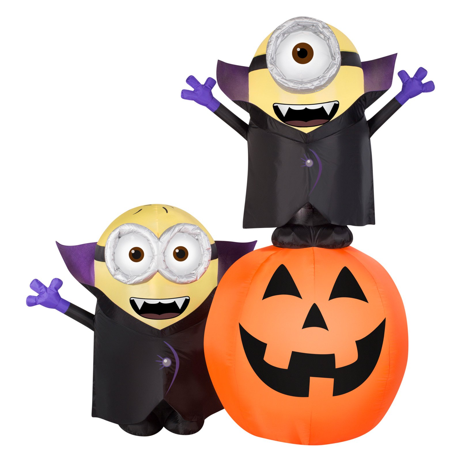 Airblown Inflatables Gone Batty Minions with Pumpkin Scene Inflatable
