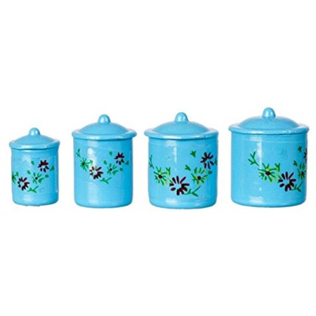 International Miniatures Dollhouse Miniature 1:12 Scale Canisters, Set of 4 w/Lids, Blue