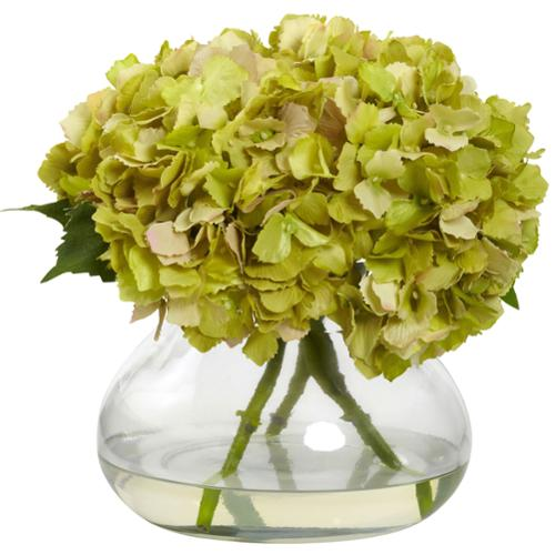 Large Blooming Hydrangea with Vase Green