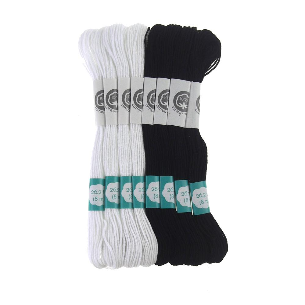 Cotton Embroidery Floss, 8.7-Yard, 8-Count, Black & White