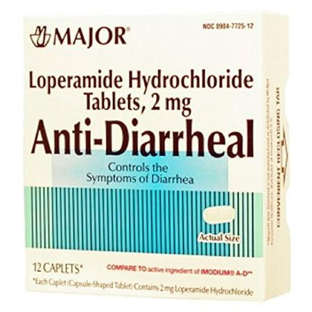 6 Pack Major antidiarrhéiques 2mg 12 lopéramide Chlorhydrate Caplets Chaque