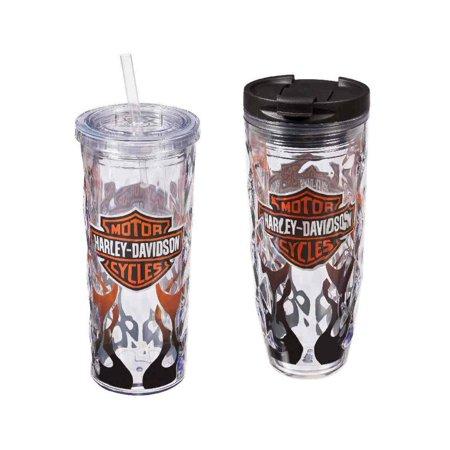 Harley-Davidson Flaming B&S Hot & Cold Tumbler Gift Set, 2-Pack, P4214900FLA, Harley Davidson (Cheap Harley Davidson Gifts)