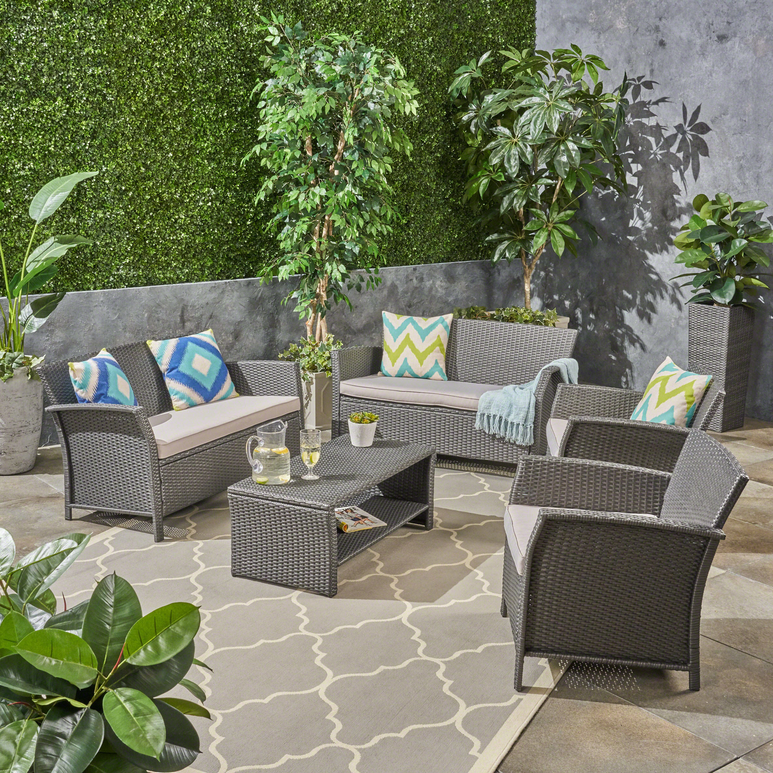 Anton Outdoor 6 Seater Wicker Chat Set with Cushions, Gray, Silver