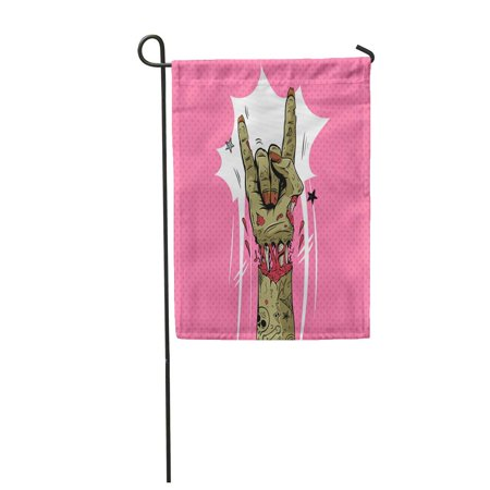 LADDKE Halloween Zombie Hand Shows Rock Gesture Punk Party Sketch Dead Fingers Apocalyp Garden Flag Decorative Flag House Banner 12x18 inch - Party Rock Halloween Show
