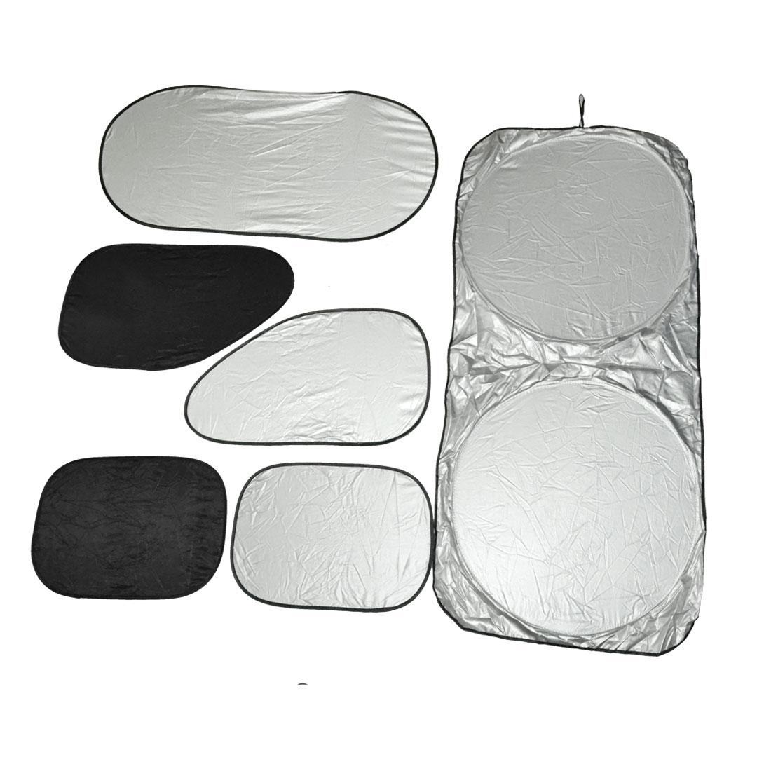 6 in 1 Silver Tone Flexible Car Front Windshield Side Rear Window Sun Shade UV Protection Set