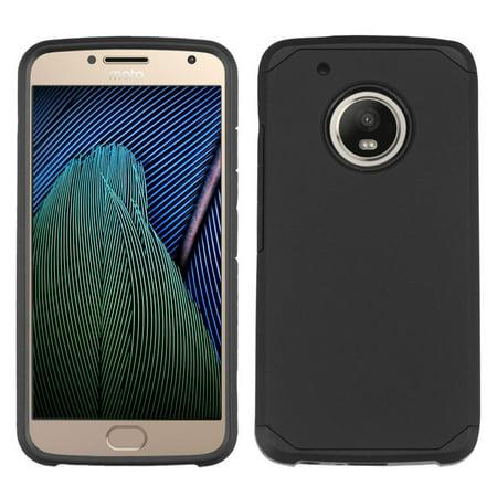 Insten Dual Layer [Shock Absorbing] Hybrid Hard Plastic/Soft TPU Rubber Case Cover For Motorola Moto G5 Plus/X (2017), Black