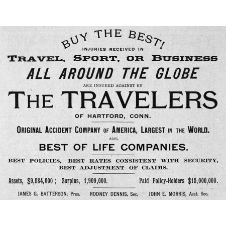 Insurance Advertisement Nan Advertisement For The Travelers Insurance Company Of Hartford Connecticut From An American Magazine 1888 Rolled Canvas Art     18 X 24