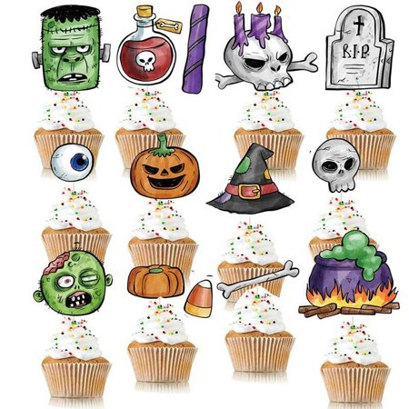 KABOER 14 x Halloween Theme Paper Card Zombie Pumpkin Stand Up Party Cup Cake Toppers - Funeral Themed Halloween Party