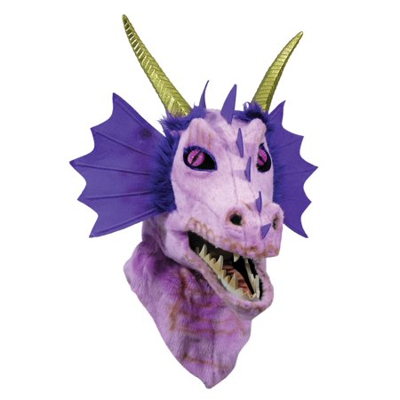 Moving Jaw Purple Dragon Mask Halloween Costume Accessory - Jaw Mask