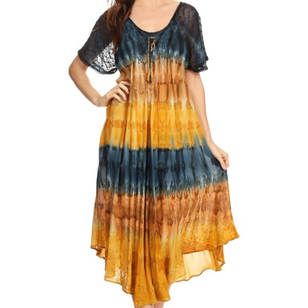 Sakkas Sula Long Laced Cotton Tie-Dye Wide Neck Embroidered Boho Sundress Cover Up - Navy / Brown - One Size