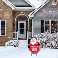 """Santa Stop Here - Stop Sign"" Christmas Lawn Display - Yard Sign Decoration"