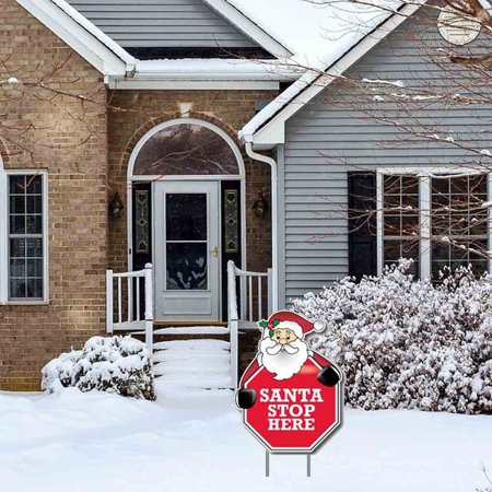 """Santa Stop Here - Stop Sign"" Christmas Lawn Display - Yard Sign Decoration"