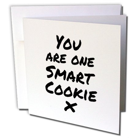 Clever Halloween Cards (3dRose You are one smart cookie x - feel good clever compliment message note - Greeting Cards, 6 by 6-inches, set of)