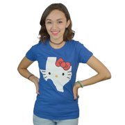 Hello Kitty Texas State Form Women's Blue T-shirt NEW Sizes XS-L