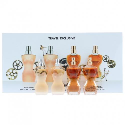 JEAN PAUL GAULTIER 4 PCS MINI SET FOR WOMEN: 2 X CLASSIQUE 6 ML EDT + 2 X CLASSIQUE ESSENCE DE PARFUM 6 ML EDP INTENSE