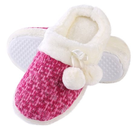 Aerusi Pearly Pom Women's Slip-on Indoor Home Slippers