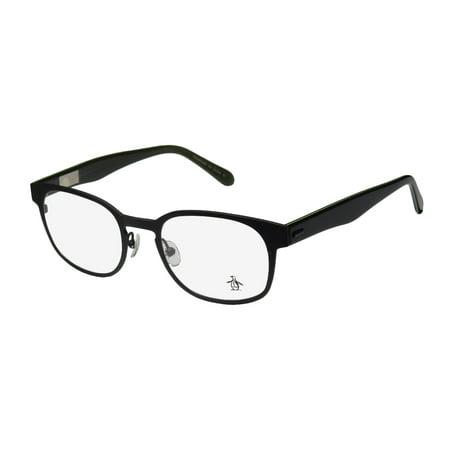 New Original Penguin The Clayton Mens/Womens Designer Full-Rim Black / Green Popular Shape Frame Demo Lenses 50-20-145 (Original Eyewear)
