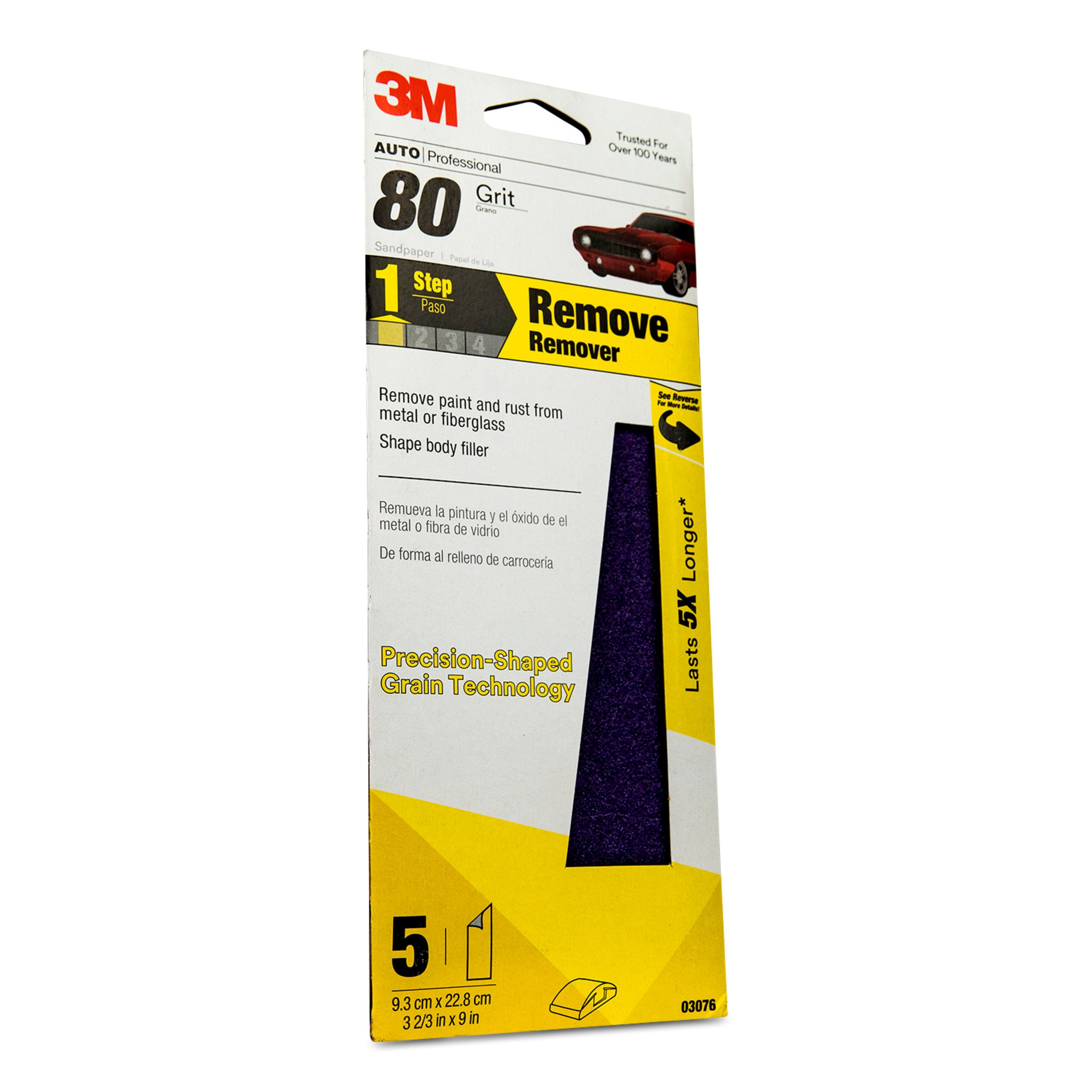 3M Precision Shaped Grain Sandpaper, 03076, 80 Grit