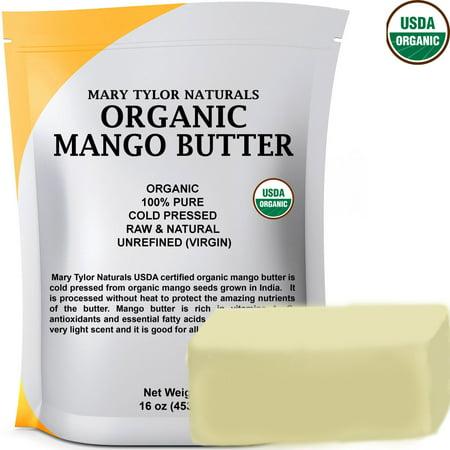 Organic Mango Butter 1 lb USDA Certified Organic, Cold Pressed, Unrefined by Mary Tylor Naturals, Premium Grade Raw Pure Mango Butter, Amazing Skin Nourishment Great Moisturizer