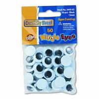 CREATIVITY STREET Round Black Wiggle Eyes, 15mm, 50 Pieces per Pack