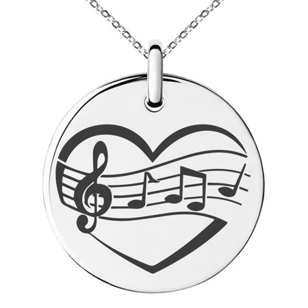 Stainless Steel Musical Love Note Heart Engraved Small Medallion Circle Charm Pendant - Musical Heart