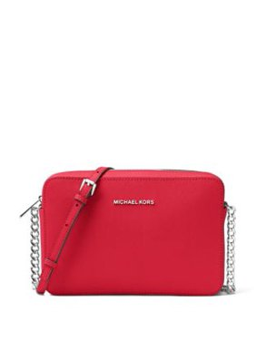 38f90f9a4042 Free shipping. Product Image Michael Kors Jet Set Travel Ladies Large  Bright Red Leather Crossbody 32S4STVC3L204